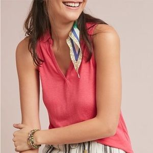 Anthropologie Maeve Pink Collared Tank Top